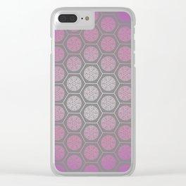 Hexagonal Dreams - Purple Pink Gradient Clear iPhone Case