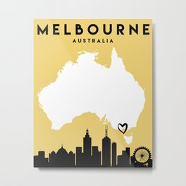 MELBOURNE AUSTRALIA LOVE CITY SILHOUETTE SKYLINE ART Metal Print