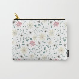 Floral Bee Print Carry-All Pouch