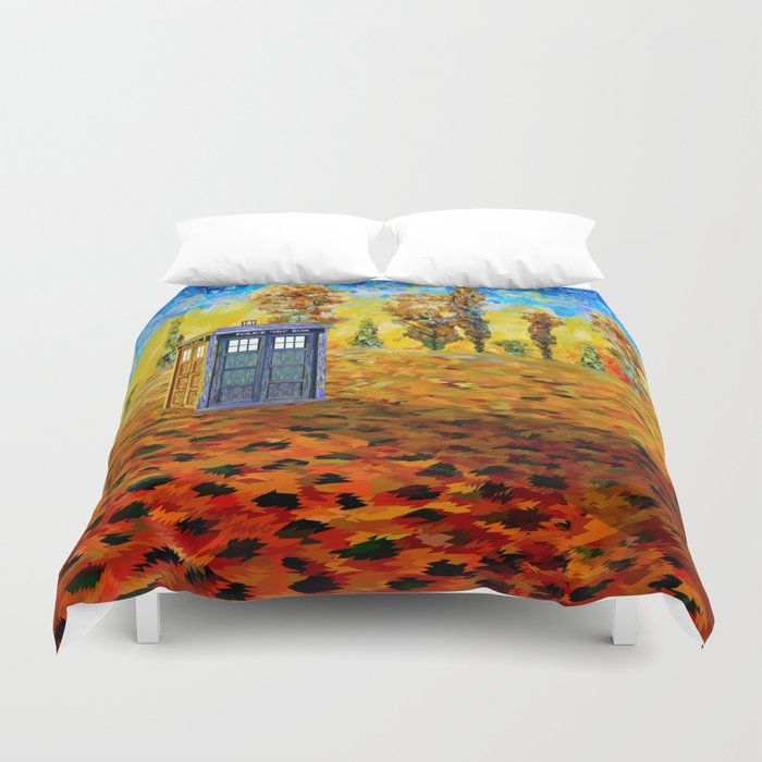 Tardis at Fall Grass field Art painting iPhone 4 4s 5 5c 6, pillow case, mugs and tshirt Duvet Cover