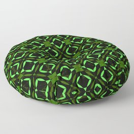 Art Deco Tile Pattern Lime And Green On Black Floor Pillow