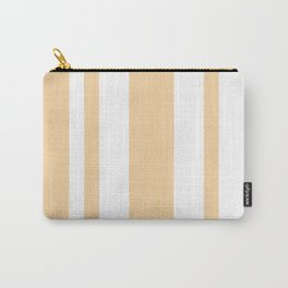 Mixed Vertical Stripes - White and Sunset Orange Carry-All Pouch