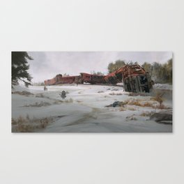 The Old Train Wreckage Canvas Print