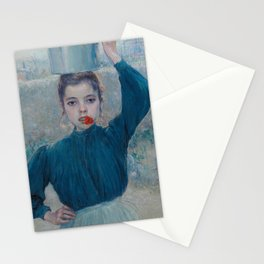 The Little Village Girl with Red Carnation Stationery Cards