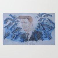 kevin russ Area & Throw Rugs featuring Kevin Bacon. by TheArtOfFaithAsylum