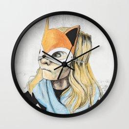 Fox Mask Girl Wall Clock