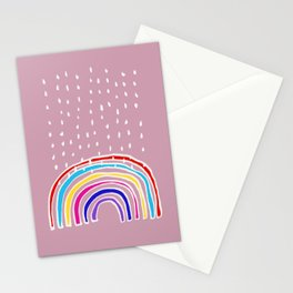 Rainbow and Rain in Pink Stationery Cards
