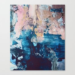 Breathe Again: a vibrant mixed-media piece in blues pinks and gold by Alyssa Hamilton Art Canvas Print