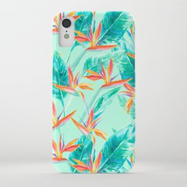 Birds Of Paradise Mint iPhone Case