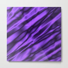 A chaotic cluster of violet bodies on a light background. Metal Print