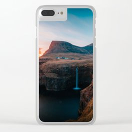 Faroe Islands Waterfall Clear iPhone Case