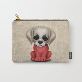 Cute Puppy Dog with flag of Poland Carry-All Pouch