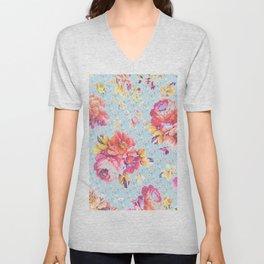 Floral on Blue Unisex V-Neck