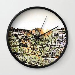 Sassi di Matera: view with sun Wall Clock