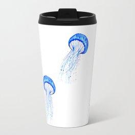 blue jellyfish watercolor Travel Mug