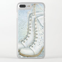 Christmas vintage ice skating #1 Clear iPhone Case