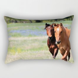 Horses & Bluebonnets II Rectangular Pillow