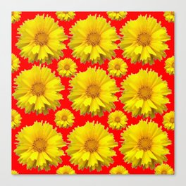 """YELLOW COREOPSIS """"TICK SEED"""" FLOWERS RED PATTERN Canvas Print"""