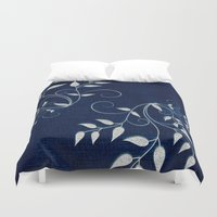 levi Duvet Covers featuring Denim by Saundra Myles