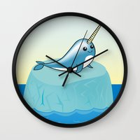 narwhal Wall Clocks featuring narwhal by bunnyandbird