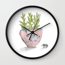 Succulent in Elephant Planter Wall Clock