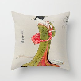 A Geisha in Green Throw Pillow