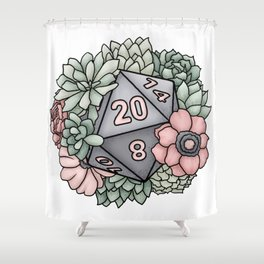 Succulent D20 Tabletop RPG Gaming Dice Shower Curtain