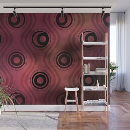 Bold Circle Rings and Wavy Lines on Abstract Blurred Red Patch Background Wall Mural
