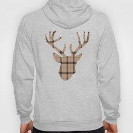 Plaid Deer Head: Brown Hoody