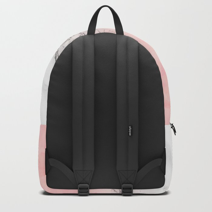 Modern blush pink watercolor ombre white marble Backpack