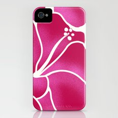 Hibiscus Flowers Animal Print RED PINK iPhone (4, 4s) Slim Case