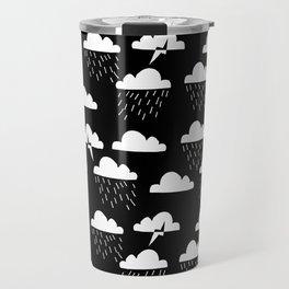 Clouds linocut black and white printmaking pattern black and white Travel Mug