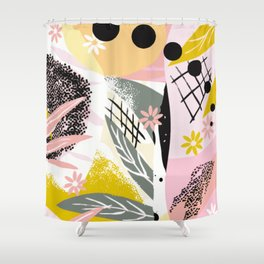 Pink whimsical flower bed Shower Curtain