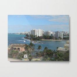 San Geronimo Fortress and view of Condado, San Juan, Puerto Rico Metal Print