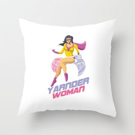 Awesome Super Yarnder Woman Quilter Crocheter Knitter Throw Pillow