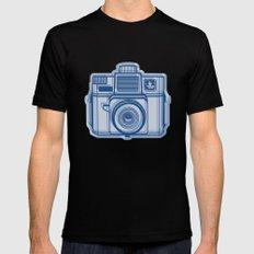 I Still Shoot Film Holga Logo - Reversed Blue SMALL Black Mens Fitted Tee