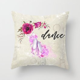 Dance with Ballet Shoes with a Floral Poppy Frame Throw Pillow