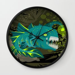 deep abyss light fish Wall Clock