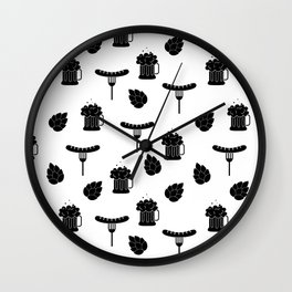 beer and sausages Wall Clock