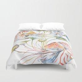 Nautilus and Lotus Surreal Watercolor Sea Animal Botanical Design Duvet Cover
