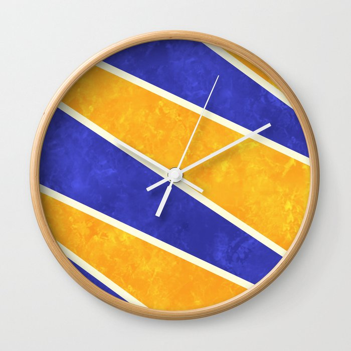 Blue and Orange Diagonal Stripes Wall Clock