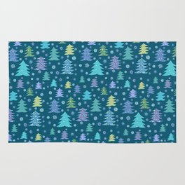 Winter Holidays Christmas Tree Green Forest Pattern Rug