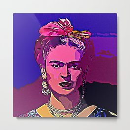 Frieda Kahlo PopArt Portrait Metal Print
