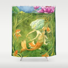 Treasures of the Lotus Nymph Shower Curtain