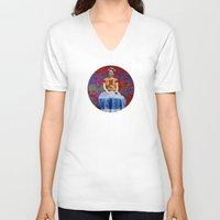 ezra koenig V-neck T-shirts featuring FRIDA dreaming away by UtArt