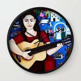 Violeta Parra and her guitar Wall Clock