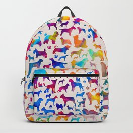 Fun Colorful Dog breeds Silhouettes Pattern Backpack
