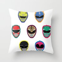 power rangers Throw Pillows featuring Rangers by Ocelotdude Designs