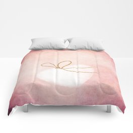 LOVE in pink - Watercolor heart with gold bow on pink background Comforters