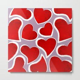 Mosaic Hearts Metal Print